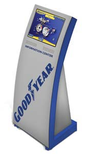interactive kiosk by goodyear engages customers and delivers information