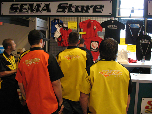 lines to buy SEMA branded merch contrasted with industry counterparts