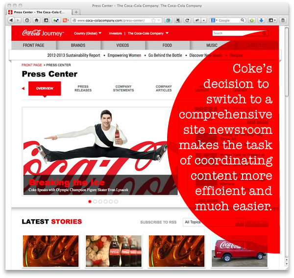 Coke made waves announcing their focus on online news distribution