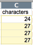 character count selection
