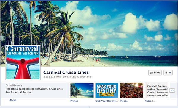 Carnival appears not to have censored their Facebook page