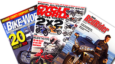 Bike Works, Cycle World and Red Rider represent distinct powersports publication categories.
